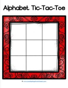 Alphabet Tic-Tac-Toe - Red - Alphabet Games