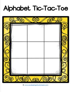 Alphabet Tic-Tac-Toe - Yellow - Alphabet Games