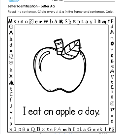 Letter Identification - Letter A - Kindergarten Alphabet Worksheets