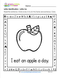 Letter Identification - Letter A - Kindergarten Alphabet Worksheets