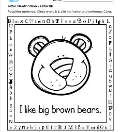Letter Identification - Letter B - Kindergarten Alphabet Worksheets
