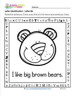 Letter Identification - Letter B - Kindergarten Alphabet Worksheets