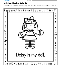 Letter Identification - Letter D - Kindergarten Alphabet Worksheets