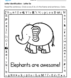 Letter Identification - Letter E - Kindergarten Alphabet Worksheets