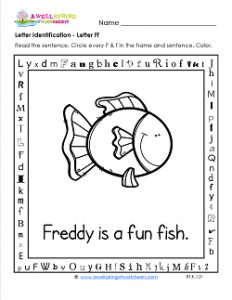 Letter Identification - Letter F - Kindergarten Alphabet Worksheets