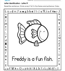 Letter Identification - Letter F - Kindergarten Alphabet Worksheets