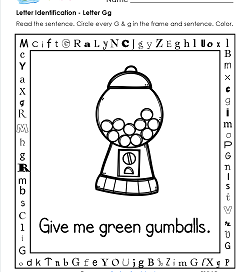 Letter Identification - Letter G - Kindergarten Alphabet Worksheets
