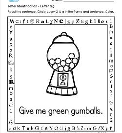 Letter Identification - Letter G - Kindergarten Alphabet Worksheets
