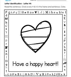 Letter Identification - Letter H - Kindergarten Alphabet Worksheets