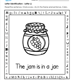 Letter Identification - Letter J - Kindergarten Alphabet Worksheets
