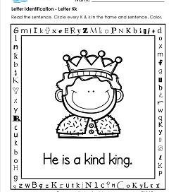 Letter Identification - Letter K - Kindergarten Alphabet Worksheets