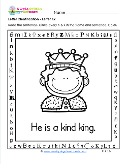Letter Identification - Letter K - Kindergarten Alphabet Worksheets