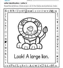 Letter Identification - Letter L - Kindergarten Alphabet Worksheets