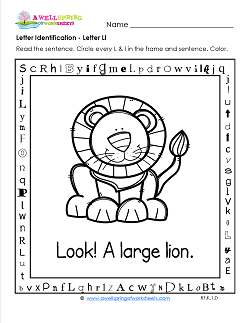 Letter Identification - Letter L - Kindergarten Alphabet Worksheets