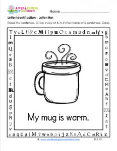 Letter Identification - Letter M - Kindergarten Alphabet Worksheets