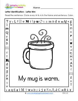 Letter Identification - Letter M - Kindergarten Alphabet Worksheets