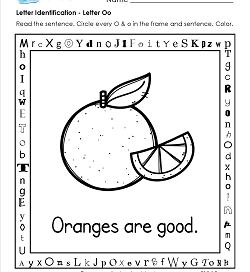 Letter Identification - Letter O - Kindergarten Alphabet Worksheets