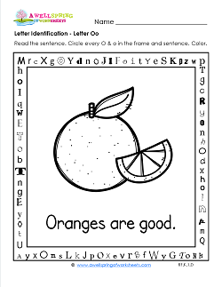 Letter Identification - Letter O - Kindergarten Alphabet Worksheets