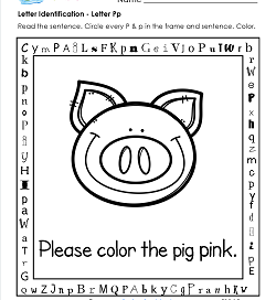 Letter Identification - Letter P - Kindergarten Alphabet Worksheets