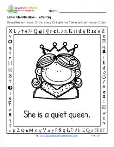 Letter Identification - Letter Q - Kindergarten Alphabet Worksheets