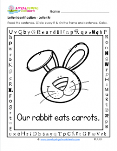 Letter Identification - Letter R - Kindergarten Alphabet Worksheets
