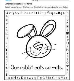 Letter Identification - Letter R - Kindergarten Alphabet Worksheets