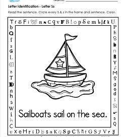 Letter Identification - Letter S - Kindergarten Alphabet Worksheets