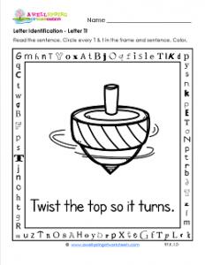 Letter Identification - Letter T - Kindergarten Alphabet Worksheets