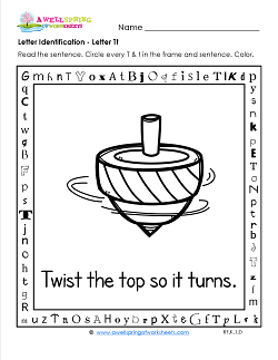 Letter Identification - Letter T - Kindergarten Alphabet Worksheets