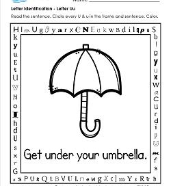 Letter Identification - Letter U - Kindergarten Alphabet Worksheets