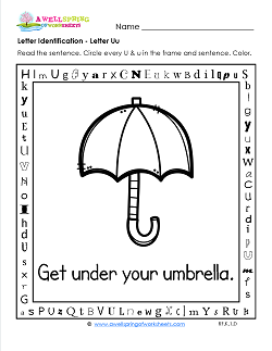 Letter Identification - Letter U - Kindergarten Alphabet Worksheets