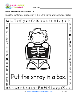Letter Identification - Letter X - Kindergarten Alphabet Worksheets
