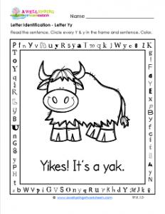 Letter Identification - Letter Y - Kindergarten Alphabet Worksheets