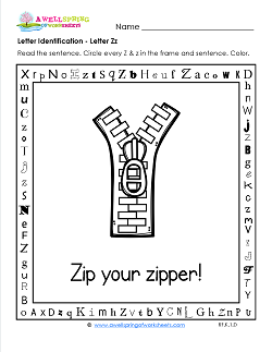 Letter Identification - Letter Z - Kindergarten Alphabet Worksheets