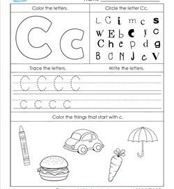 alphabet worksheets  letter worksheets for kindergarten abc worksheets  letter c  alphabet worksheets