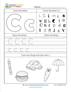 abc worksheets letter c alphabet worksheets a wellspring. Black Bedroom Furniture Sets. Home Design Ideas