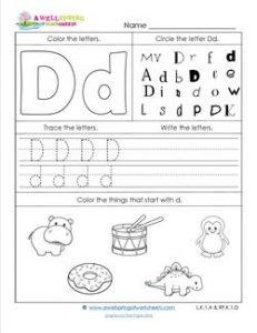abc worksheets letter d alphabet worksheets a wellspring. Black Bedroom Furniture Sets. Home Design Ideas
