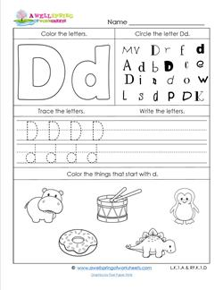 letter d worksheets abc worksheets letter d alphabet worksheets a wellspring 22800 | abc worksheets letter d