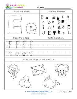 ABC Worksheets - Letter E - Alphabet Worksheets