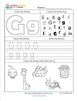 ABC Worksheets - Letter G - Alphabet Worksheets