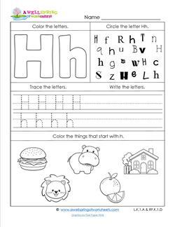 ABC Worksheets - Letter H - Alphabet Worksheets