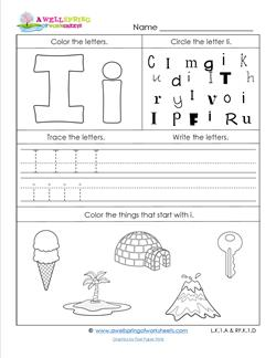 abc worksheets letter i alphabet worksheets a wellspring. Black Bedroom Furniture Sets. Home Design Ideas
