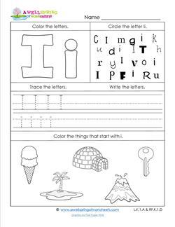 ABC Worksheets - Letter I - Alphabet Worksheets
