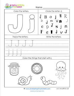 ABC Worksheets - Letter J - Alphabet Worksheets