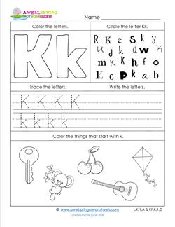 Things With Letter K.Abc Worksheets Letter K Alphabet Worksheets A Wellspring