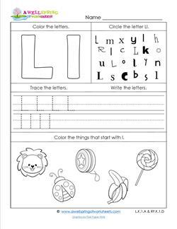 ABC Worksheets - Letter L - Alphabet Worksheets