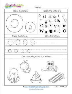 ABC Worksheets - Letter O - Alphabet Worksheets