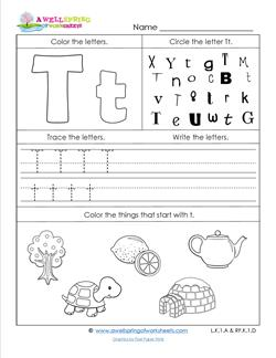 ABC Worksheets - Letter T - Alphabet Worksheets
