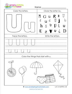 ABC Worksheets - Letter U - Alphabet Worksheets