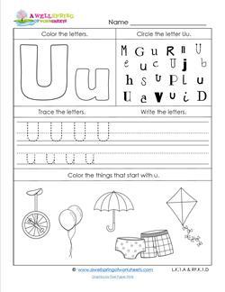 ABC Worksheets - Letter U - Alphabet Worksheets